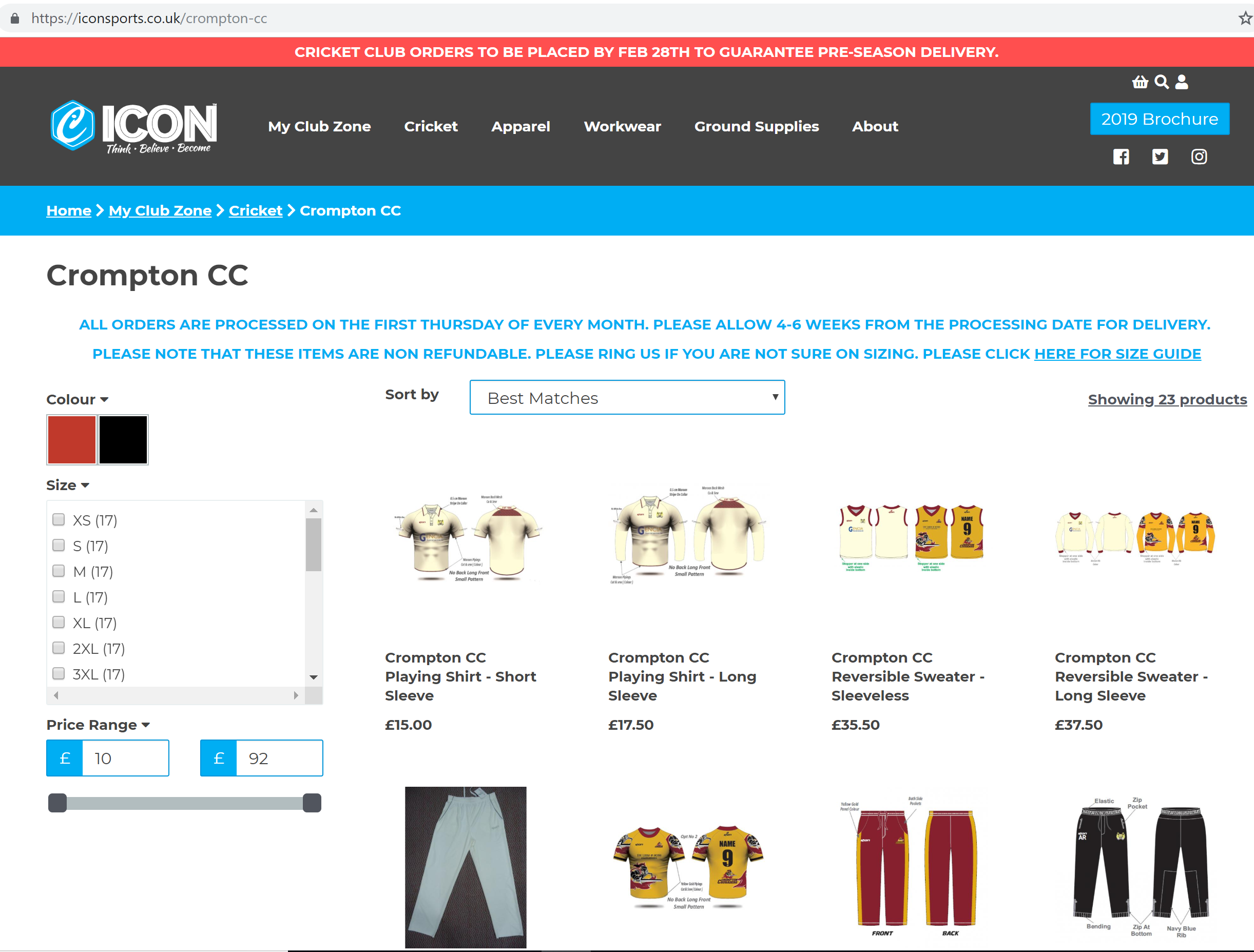 crompton cricket club kit and merchandise
