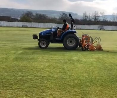 re-seeded cricket pitch